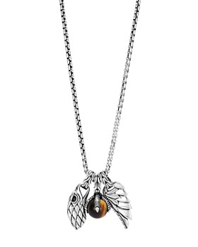 """JOHN HARDY - Sterling Silver Legends Eagle Charm Necklace with Tiger's Eye, 26"""""""