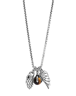 John Hardy Sterling Silver Legends Eagle Charm Necklace with Tiger\\\'s Eye, 26-Jewelry & Accessories
