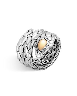 John Hardy 18K Yellow Gold and Sterling Silver Legends Cobra Double Coil Ring