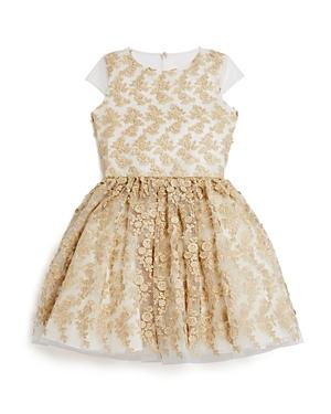 David Charles Girls Gold Mesh Dress  Big Kid