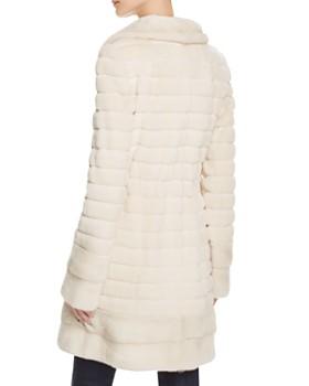 Maximilian Furs - Grooved Sheared Kopenhagen Mink & Long Hair Mink Fur Coat - 100% Exclusive