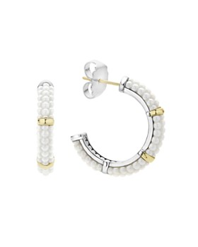 LAGOS - 18K Gold and Sterling Silver White Caviar Hoop Earrings