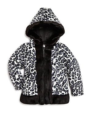 Rothschild Girls' Leopard Print Plush Coat - Sizes 2-4T