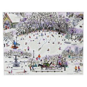 Michael Storrings Sledding in Central Park Print, 11 x 14