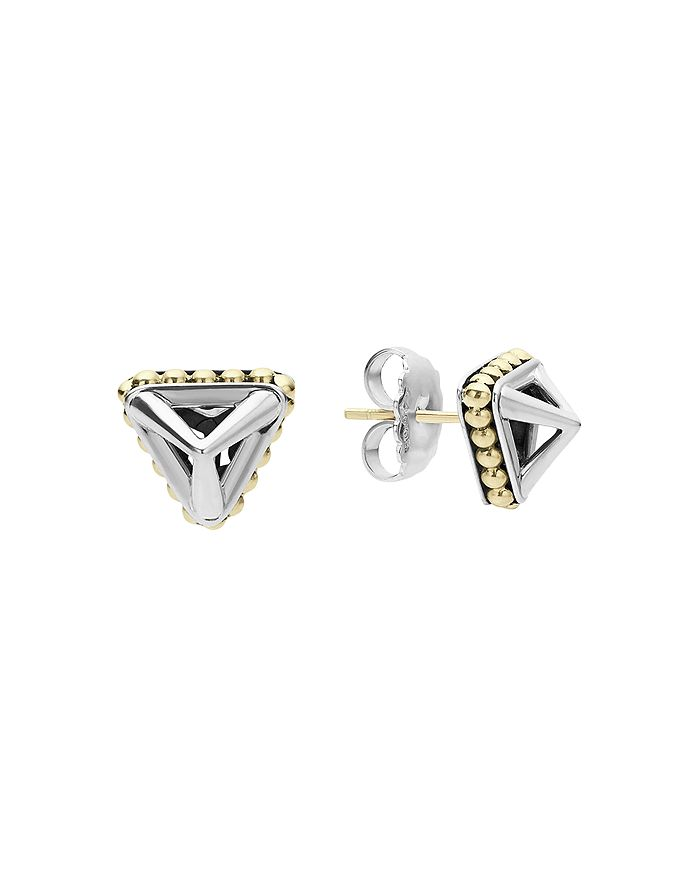 LAGOS - 18K Gold and Sterling Silver Pyramid Stud Earrings