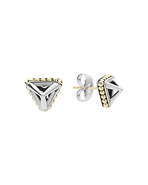 Lagos 18K Gold and Sterling Silver Pyramid Stud Earrings