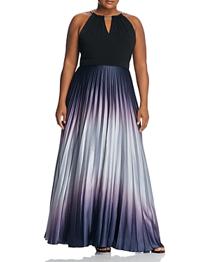 City Chic Pleated Ombre Maxi Dress