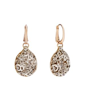 Arabesque Earrings With Brown Diamonds In 18K Rose And White Gold in Rose Gold