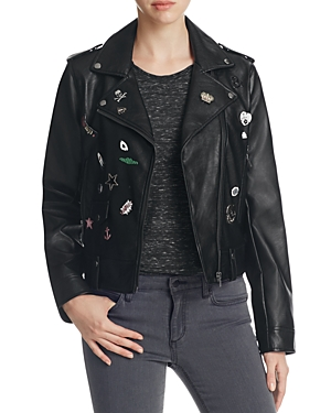Bagatelle Pins & Patch Faux Leather Moto Jacket