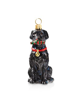 Joy to the World - Black Lab with Tartan Plaid Slipper Ornament
