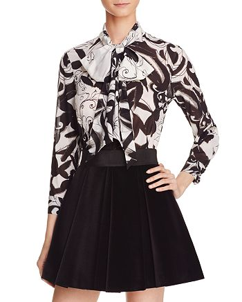 700de6209e6a3d Alice and Olivia Alice + Olivia Abigail Tie Neck Stretch Silk Blouse ...