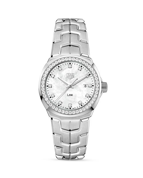 TAG Heuer - Link Mother-Of-Pearl and Diamond Watch, 32mm