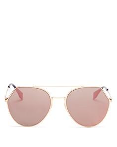 Fendi - Women's Eyeline Mirrored Brow Bar Round Sunglasses, 55mm