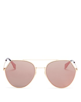Fendi - Women's Eyeline Mirrored Brow Bar Round Sunglasses, 55mm