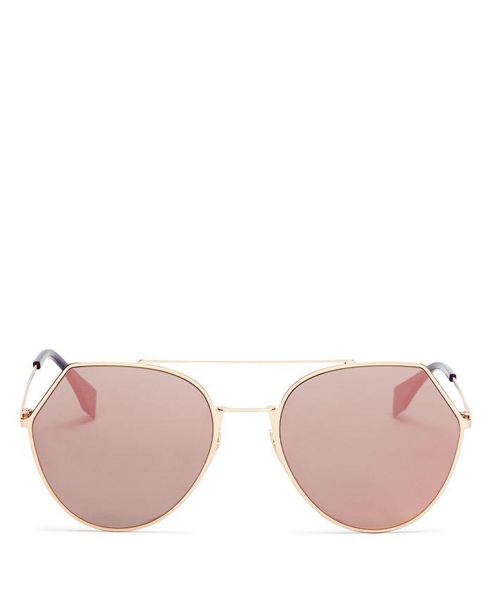 f07af5ec02 Fendi - Women s Eyeline Mirrored Brow Bar Round Sunglasses