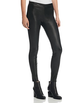 J Brand - Mid Rise Leather Leggings in Black