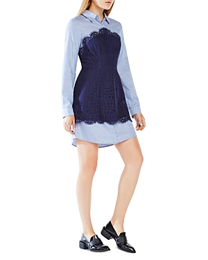Bcbgmaxazria Kaylin Lace-Blocked Shirt Dress