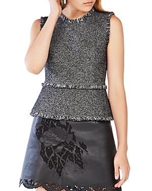 Bcbgmaxazria Zhara Tweed Fringe-Trim Top