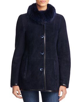Maximilian Furs - Fox Fur Collar Shearling Jacket