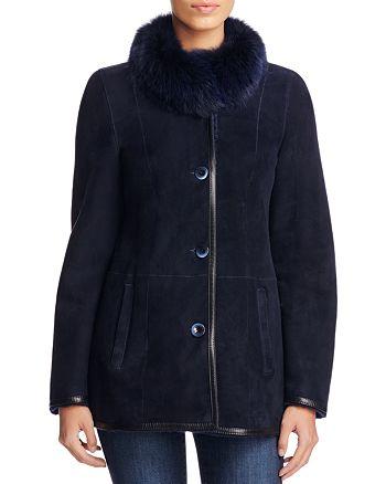 Maximilian Furs - Fox Fur Collar Shearling Jacket