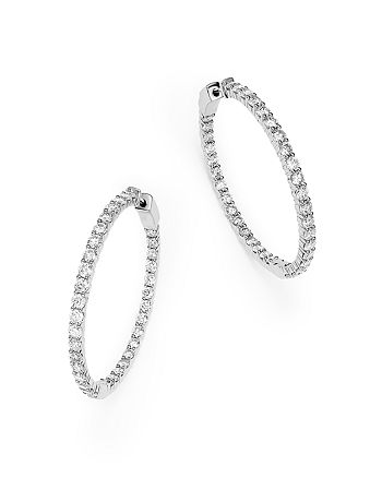 Bloomingdale's - Diamond Inside Out Hoop Earrings, in 14K White Gold, 5.0 ct. t.w.- 100% Exclusive