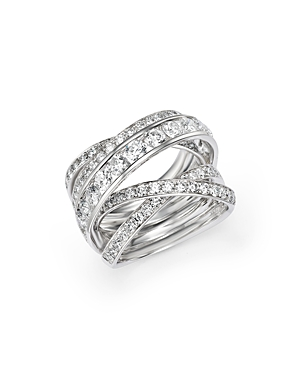 Diamond Crossover Ring in 14K White Gold, 3.0 ct. t.w. - 100% Exclusive