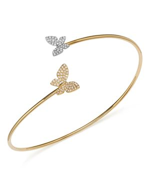 Kc Designs Diamond Micro Pave Butterfly Bangle in 14K Yellow and White Gold, .25 ct. t.w.
