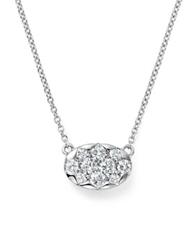 KC Designs - Diamond Cluster Pendant Necklace in 14K White Gold, .35 ct. t.w.