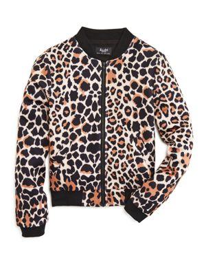 Bardot Junior Girls' Leopard Print Bomber Jacket - Sizes 8-16