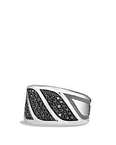 David Yurman Graphic Cable Band Ring with Black Diamonds - Bloomingdale's_0