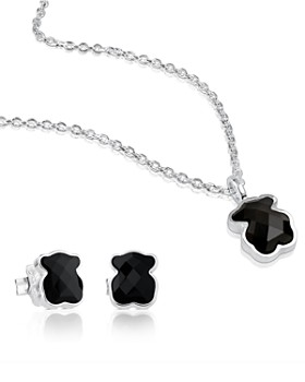 TOUS - Sterling Silver Teddy Bear Necklace & Earrings Set
