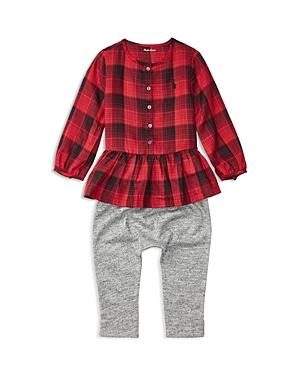 Ralph Lauren Childrenswear Infant Girls' Plaid Peplum Blouse & Marled Pants Set - Sizes 3-24 Months
