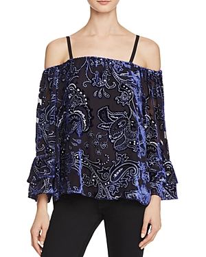 Parker Pyper Embellished Cold-Shoulder Top
