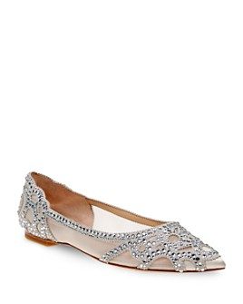 Badgley Mischka - Women's Gigi Embellished Pointed-Toe Flats