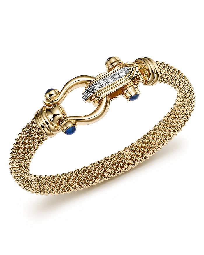 Bloomingdale's - 14K Yellow Gold Beaded Mesh Bracelet with Diamond Clasp - 100% Exclusive