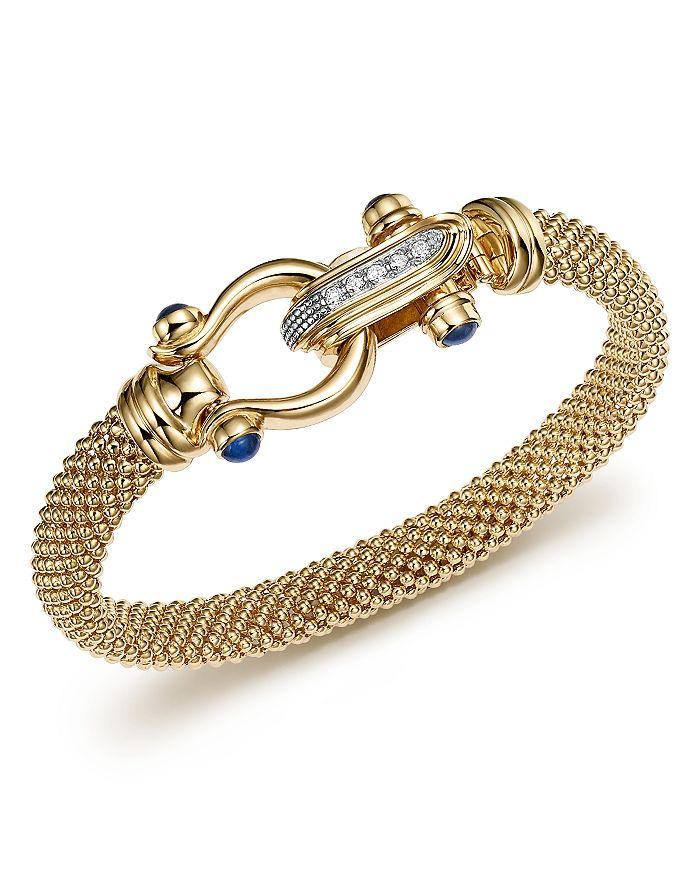 14k Yellow Gold Beaded Mesh Bracelet With Diamond Clasp 100 Exclusive