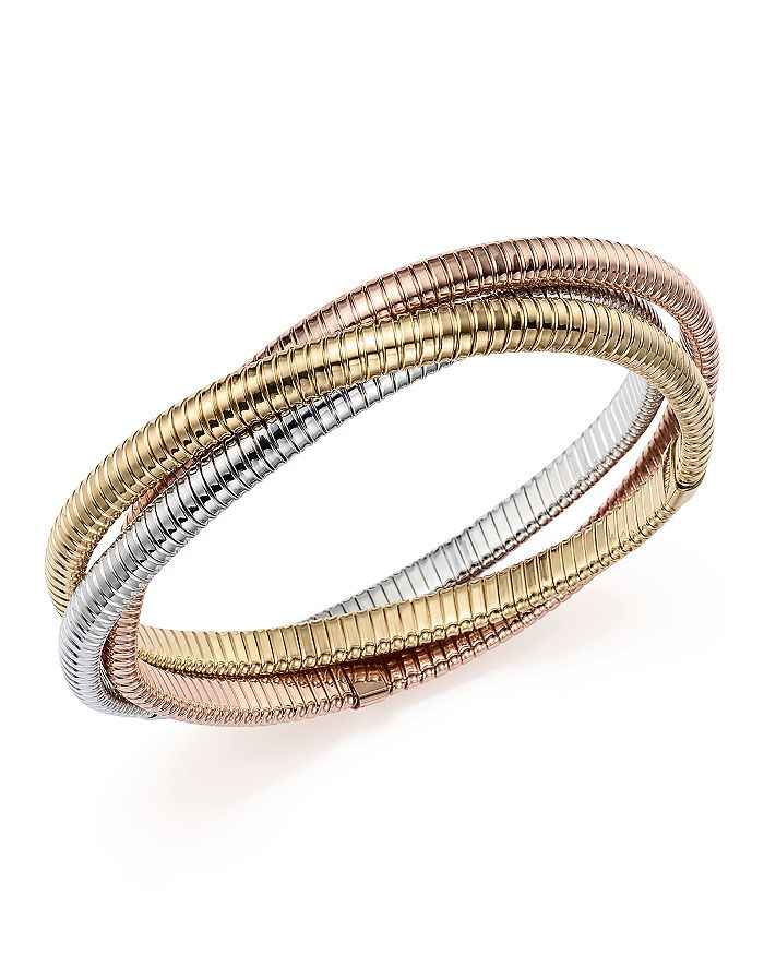 Bloomingdale's - 14K Yellow, White and Rose Gold Triple Tubogas Bracelet  - 100% Exclusive