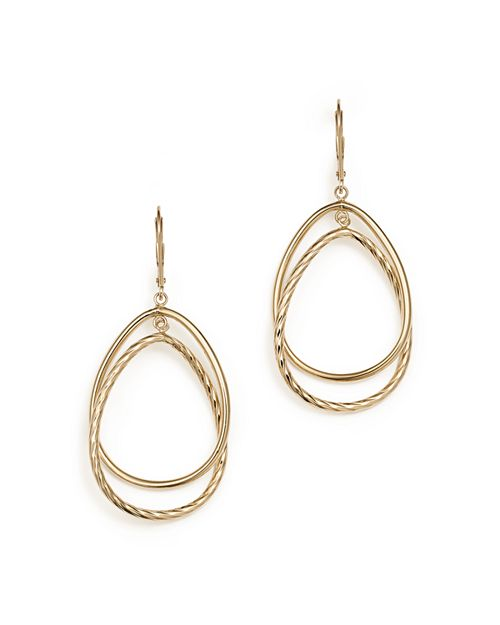 Bloomingdale's - 14K Yellow Gold Double Interlock Round Drop Earrings - 100% Exclusive