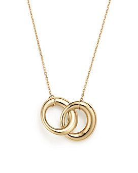 """Bloomingdale's - 14K Yellow Gold Double Interlocked Circle Chain Necklace, 17"""" - 100% Exclusive"""