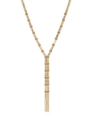 14K Yellow Gold Bead and Bar Chain Tassel Y Necklace, 17 - 100% Exclusive