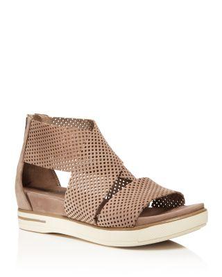 Women'S Perforated Nubuck Leather Crisscross Platform Sandals, Earth