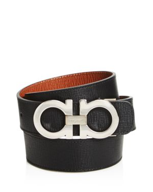 Salvatore Ferragamo Rhodium with Stamped Calf Reversible Belt