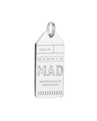 JET SET CANDY Mad Madrid Luggage Tag Charm in Silver