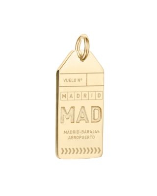 JET SET CANDY Mad Madrid Luggage Tag Charm in Gold