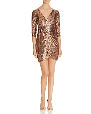 Aqua Sequin Faux-Wrap Dress - 100% Exclusive