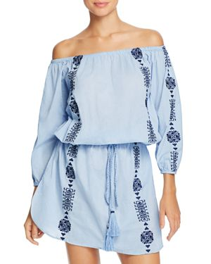 Pampelone Bardot Off-The-Shoulder Dress Swim Cover-Up
