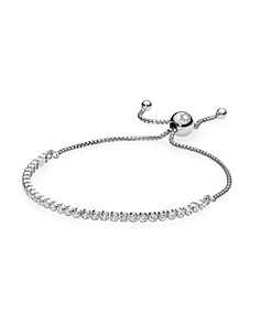 PANDORA Moments Collection Sterling Silver & Cubic Zirconia Sparkling Strand Bracelet - Bloomingdale's_0
