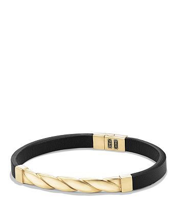 David Yurman - Cable Classics Leather ID Bracelet with 18K Gold in Black