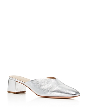 Loeffler Randall Lulu Metallic Leather Block Heel Mules