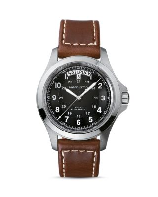 Khaki King Automatic Leather Strap Watch, 40Mm in Brown/ Black/ Silver
